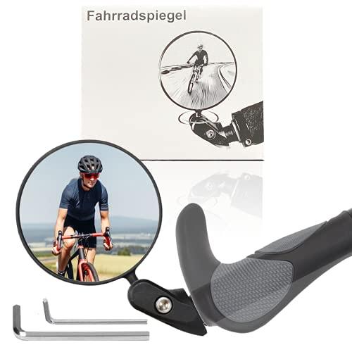 May-Kon Bike Fahrradspiegel • HD Bar End Rückspiegel 360° verstellbar • Fahrradlenker Endspiegel • Spiegel Universell 17,4-22 mm für Mountainbike, Rennräder, E-Bike u.v.m.