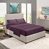 Nestl Luxury Queen Sheet Set - 4 Piece Extra Soft 1800 Deep Pocket Bed Sheets with Fitted Sheet, Flat Sheet, 2 Pillow Cases, Hotel Grade Comfort and Softness - Purple Eggplant