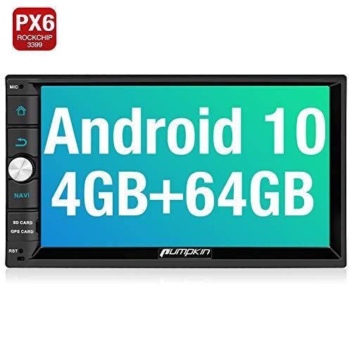 PUMPKIN Android 10 Autoradio mit Navi 4GB+64GB PX6 Unterstützt Qualcomm Bluetooth 5.0 DAB + Android Auto WiFi 4G USB MicroSD Doppel Din 7 Zoll Bildschirm