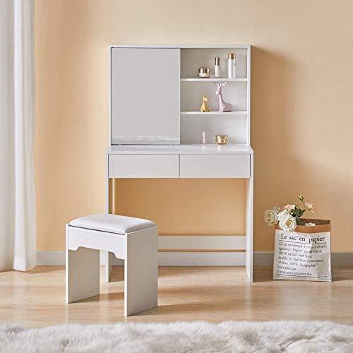 Minimalistisches, modernes Kosmetik-Set mit 2 Schubladen, einem Schiebespiegel, Regalen und Hockern, Weiß