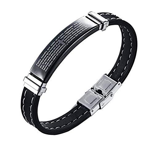AIUIN - Pulsera de acero inoxidable para hombre, diseño de cruz y texto en inglés, de silicona con cierre plegable, color negro