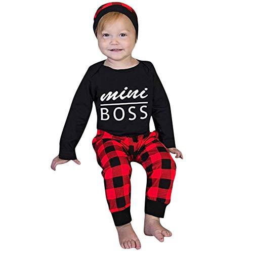 Longra Bébé Sweat à Capuche Sweatshirts Imprimé Lettre Streetwear Haut Tops Blouse Longues Manches Haut Pantalon Camouflage Longue Pantalon Mode Ensemble Tenue(Noir,6-12Months)
