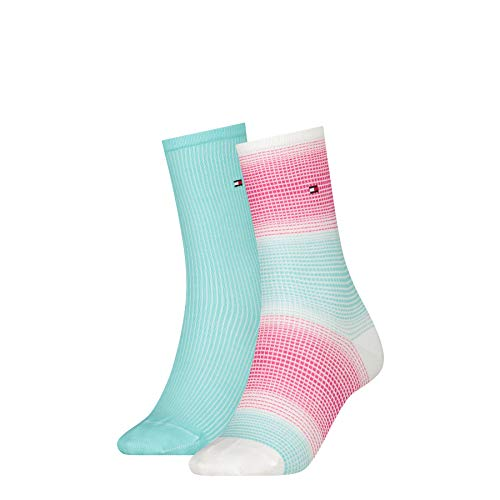 Tommy Hilfiger Womens Gradient Stripe Women's (2 Pack) Socks, Mint Combo, 39/42