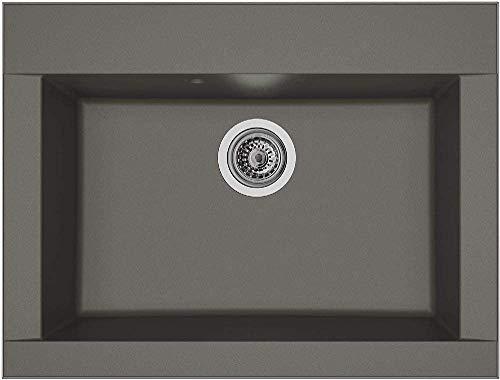 respekta OHIO86X50G Fregadero de 60% compuesto de minerales y fibra de vidrio, 40% resina de color gris hormigón, 66 cm