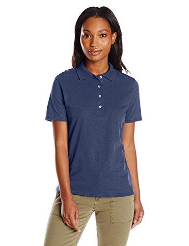 Hanes womens X-Temp Performance Polo Shirt,Navy,Medium