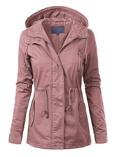MixMatchy Women's Casual Lightweight Militray Safari Anorak Utility Hoodie Jacket Mauve M