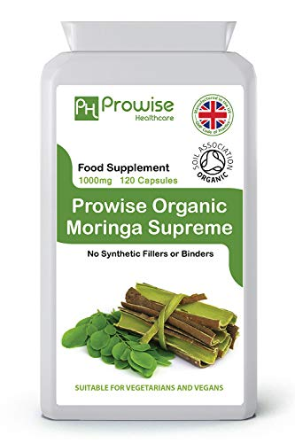 Organic Moringa Oleifera 1000mg 120 Capsules | Certified Organic by Soil Association | UK Manufactured - Suitable for vegetarians & vegans By Prowise Healthcare