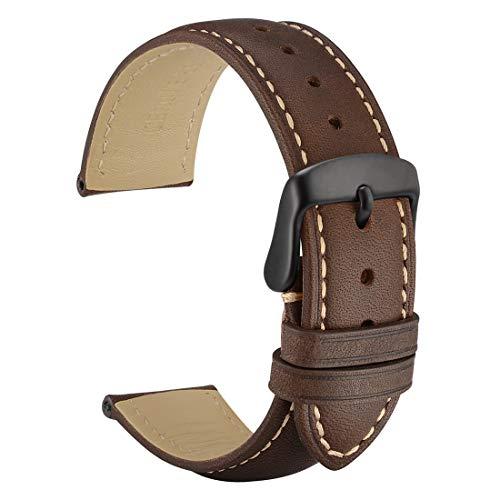 WOCCI 18mm Vintage Leder Uhrenarmband mit Schwarzer Schnalle, Ersatz Armbanduhr (Dunkelbraun)