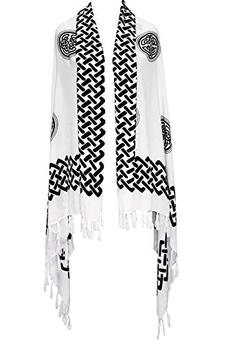 1WS Womens Celtic Knot Scarf/Sarong Wrap in White