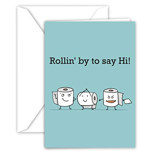 Paper Frenzy Toilet Paper Rollin by Quarantine Notes for Social Distancing Greeting Card - 25 Pack