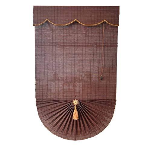 JLXJ Persianas Enrollables Persiana Enrollable de Bambú Sombrilla, Persianas Window Rome con Valence, para Patio Exterior Balcón de Pérgola 80cm/100cm/120cm/140cm/130cm de Ancho