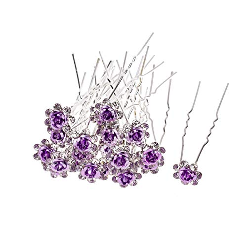 AKOAK 20 Pcs/Lot Women Wedding Bridal Clear Crystal Rhinestone Rose Flower Hair Pin Clips Hair Accessories Jewelry Barrettes Headwear(Purple)