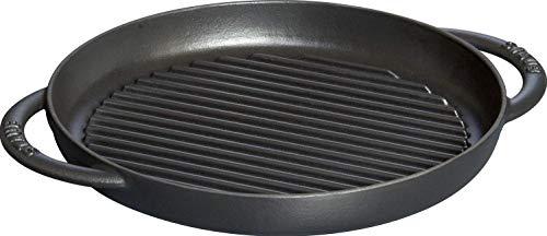 Staub Grillpfanne rund (26 cm, induktionsgeeignet, mit mattschwarzer Emaillierung im Inneren der Pfanne) schwarz