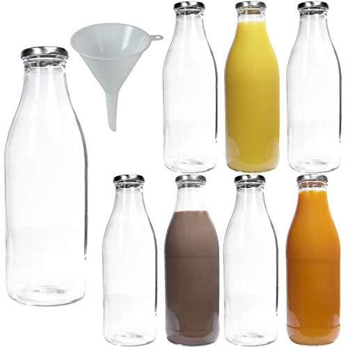 8 leere Weithals-Glasflaschen für 1,0l, Milchflaschen Saftflaschen mit silber-farbenem Schraubverschluss, inkl. einem Einfülltrichter Ø 9cm