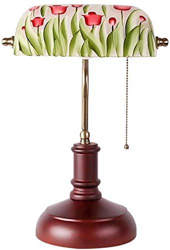 Lámpara de mesa retro, lámpara de mesa con pantalla de cristal rosa, lámpara de mesa con interruptor americano, con base de madera
