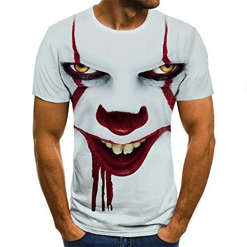 ZIXIYAWEI 3D Gedruckte T-Shirts Für Männer Clown Muster T-Shirt Männer/Frauen Joker Gesicht Gedruckt Terror Mode T-Shirts Cooler Charakter Joker Harajuku Kleidung Hip Hop Tops-M