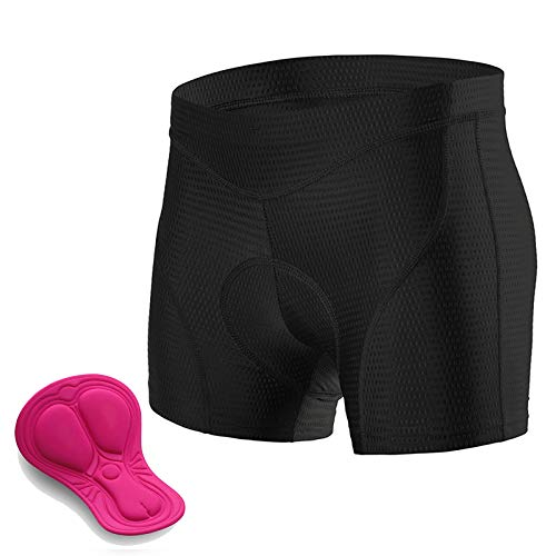 Padded Cycling Shorts Women, 3D Gel Shockproof Bike Underwear, Moisture Wicking Breathable Quick Dry Undershorts High Waist Underpants for Road Bike, Bicycle,Black,M