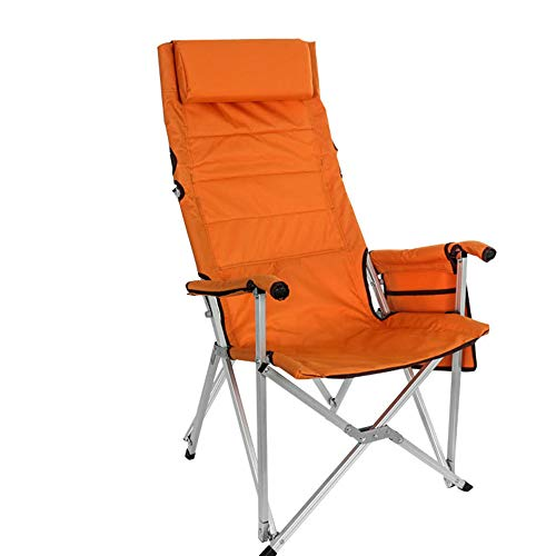 HHDD Angelstuhl Chairoutdoor Klappstuhl Campingstuhl tragbar für dicke Aluminiumstühle, Strandstühle, selbstfahrend, Grillstuhl, geeignet für Angeln, Camping, Reisen L Orange