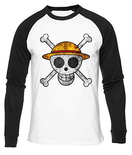 Hopestly Anime Straw Hat Pirate Maglietta da Baseball Unisex da Donna Uomo Bianca Girocollo Manica Lunga Cotone Organico Tee T-Shirt Unisex White XXL
