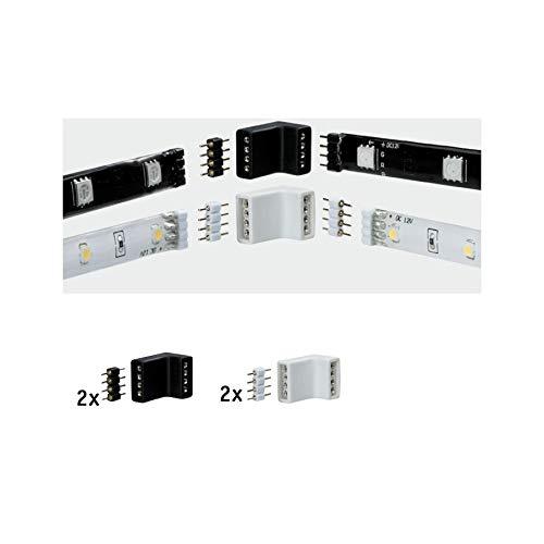 Paulmann 70334 YourLED Eck-Verbinder für LED Strip 4er Pack Stripe Zubehör Weiß Schwarz Kunststoff 2x Weiß 2x Schwarz inklusive 4fach Pin