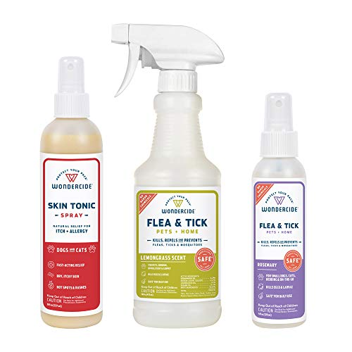 Wondercide - Pet Parent Kit for Dogs and Cats - Flea, Tick, Mosquito Control Spray Pack with Natural Essential Oils - 16 oz Lemongrass, 4 oz Rosemary, and 8 oz. Skin Tonic Spray and First Aid Remedy