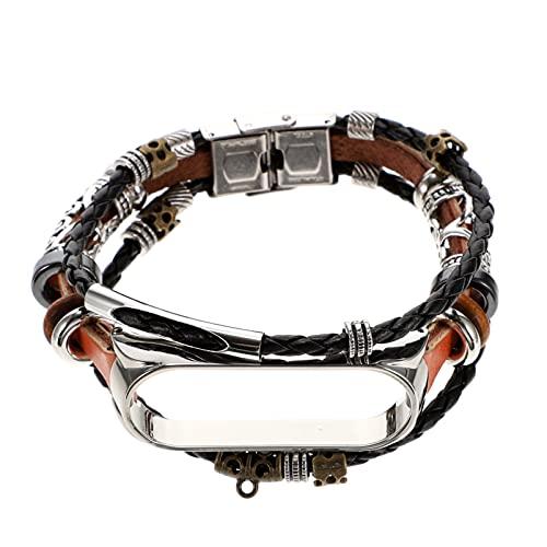 UKCOCO Kompatibel für Xiaomi Mi Band 6 Uhr Band- Vintage Perlen Uhr Ersatz Strap Perlen Armband Armband Weave Geflochtene Uhr Band mit Metall Verschluss für Männer Frauen