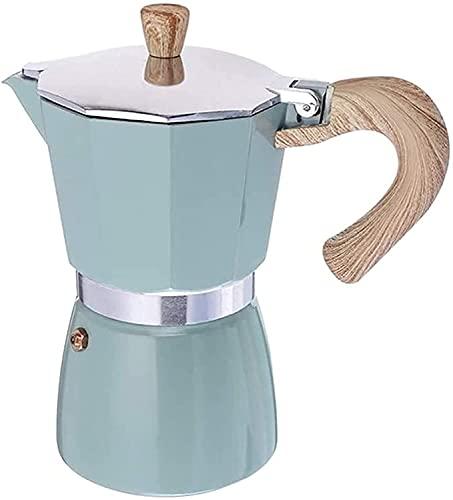 Olla de aluminio Moka para cafetera espresso clásica italiana, cafetera de café espresso (color: azul, tamaño: 300 ml) (color: azul, tamaño: 300 ml)