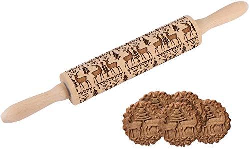 Weihnachten Teigroller, Prägerolle Holz Teigroller Nudelholz als Backzubehör, Backrolle aus Buchenholz zum Teigrollen für Küchen Cookie Bäcker -Maße: Ø 5 x 43 cm