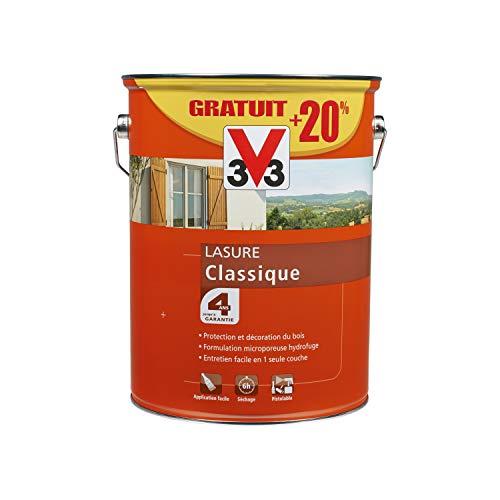 V33 100357 Lasure bois classique 4 ans, Chêne Moyen, 6L