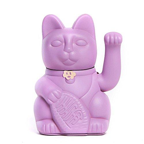 Gato de la Suerte chino. Lucky Cat. Maneki Neko. COLOR MALVA 12x9x18cm