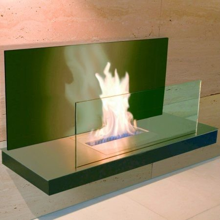 Wall Flame 2nero in acciaio INOX spazzolato e vetro nero bioetanolo–540B