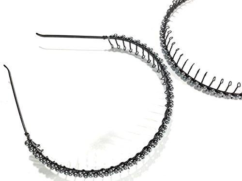 niavida Haarreifen Metall mit Kugel-Applikation Zackenhaarreif