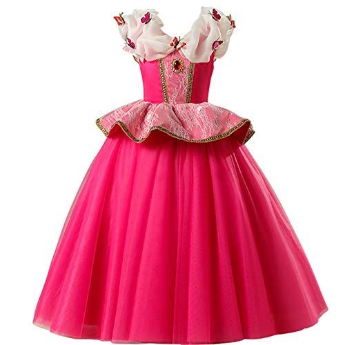O.AMBW Aurora Prinzessin Kleid Kostüm Mädchen Party Kleid Zeremonie Kleid Rose Schmetterling Königin Maskerade Halloween Weihnachten Cosplay Kostüm Handschuhe Krone Zauberstab Halskette Ring Ohrringe
