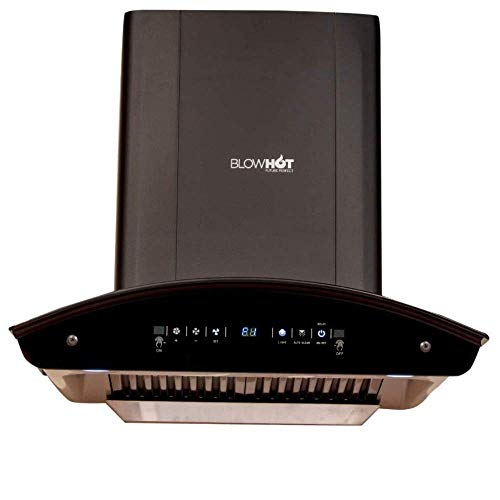 BLOWHOT 60 Cms 1,200 m3/h Heat Auto Clean Chimney, Motion Sensor Gesture with Digital Display, Baffle Filter, Model | Camilia S BAC MS,Black
