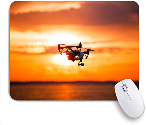 Aliciga Gaming Mouse Pad Rutschfeste Gummibasis,Quadrocopter Drone Remote Control Dunkle Silhouette,für Computer Laptop Office Desk,240 x 200mm