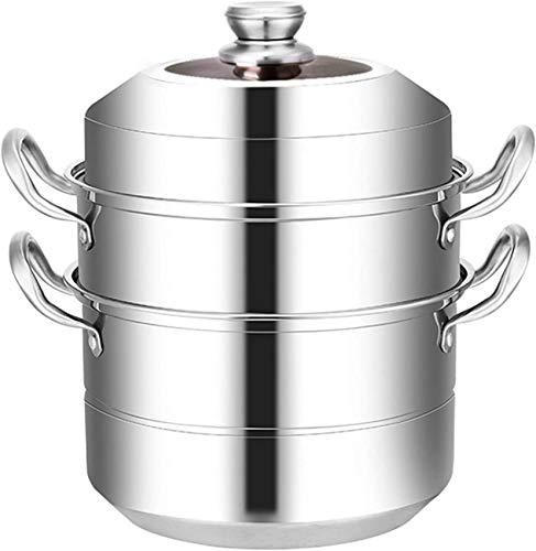 XH&XH Olla de Vapor de Acero Inoxidable Juego de ollas para cocinar Sopa y cocinar Alimentos al Vapor Sartén de Vapor con Tapa de Vidrio Sartén de inducción para Cocina Tres Capas 34 cm