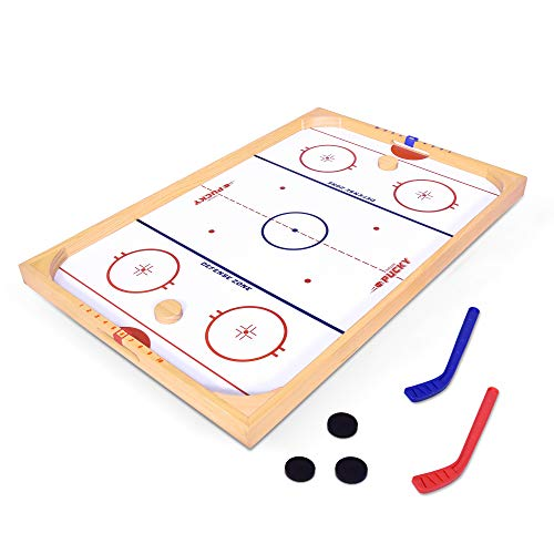 GoSports Hockey Ice Pucky Wooden Table Top Hockey Game for Kids amp Adults  Includes 1 Game Board 2 Hockey Sticks amp 3 Pucks