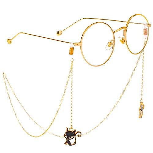 Vidrios cadena Gato negro de oro colgante artesanal de los vidrios de...