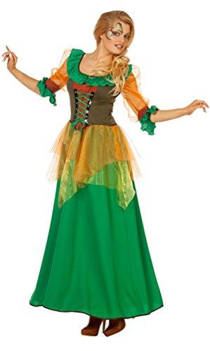 Karneval-Klamotten Waldfee Kostüm Damen Herbstfee Fee Damen-Kostüm grün lang Elfe-n Kostüm Größe 36