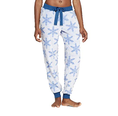Bluefly Stated Women's Holiday Snowflake Super Soft Plush Pajama Pants - (Blue, XLarge)