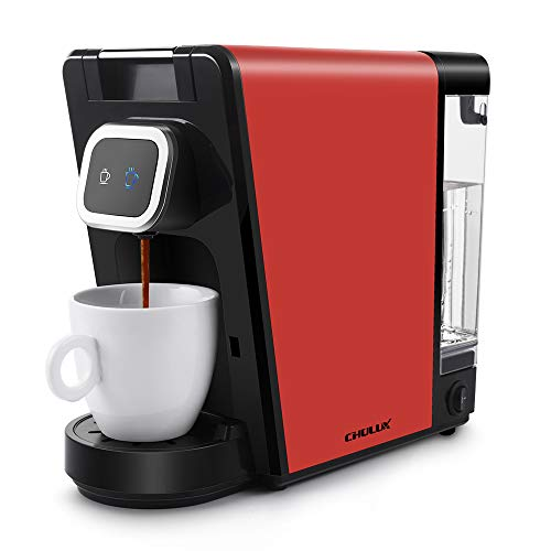 CHULUX Single Pod Coffee Maker Machine,Ground Coffee,Small and Big Cup Buttons with Indicator Light,Large Visiable Removable Reservoir,1150W