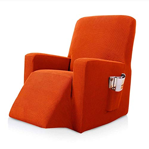Cubierta de la Silla reclinable, Estiramiento reclinable de Fundas, 1 Pieza de mobiliario Protector Anti Slip, Fundas de sillón reclinable, con el Bolsillo remoto-04