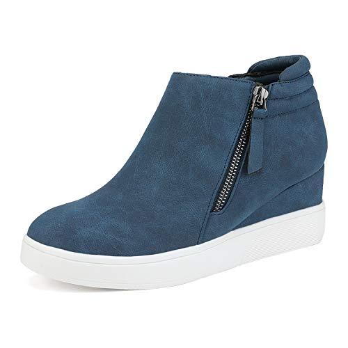 DREAM PAIRS Sneakers con zeppa Marina da ragazza Stivaletti con plateau alto con cerniera laterale taglia 13 US Little Kid/31 EU WEDGE-SNKR-2K