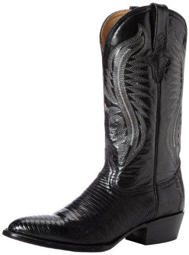 Ferrini Men's Genuine Lizard R-Toe Western Boot,Black,7.5 EE US Black Lizard Cowboy Boots