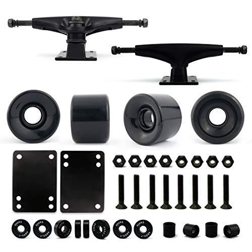 VJ Skateboard Truck and Wheel, 5.0 Skateboard Trucks 127mm (Black) w Skateboard Cruiser Wheel 60mm, Skateboard Bearings, Skateboard Screws, Skateboard Riser Pads (Black)