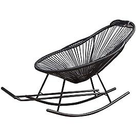Chaise Longue Pliant de Jardin, Treaux Treaux Noir Rotin Chaise à bascule Meubles de jardin avec repose-pieds et…