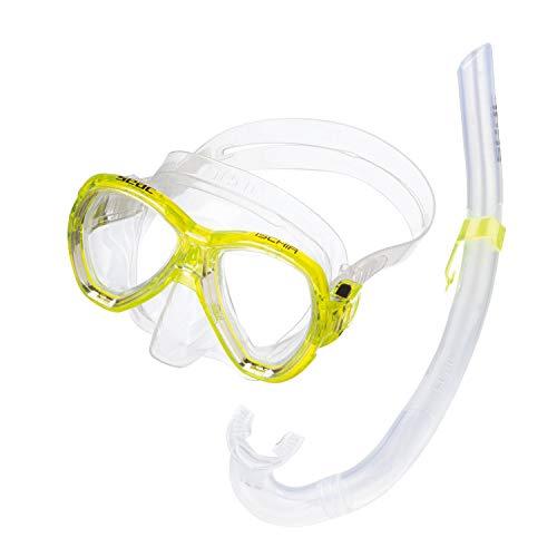 Seac Jungen Set Ischia MD Schnorchelset Tauchset Mit Taucherbrille Und Schnorchel, transparent/Gelb, M