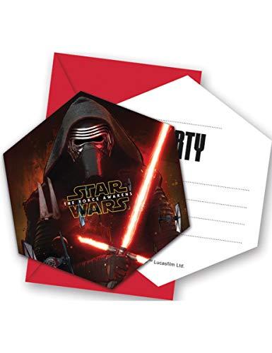 Ciao Procos 86218 – Invitations avec Enveloppes Star Wars The Force Awakens, 6 pièces, Noir/Rouge