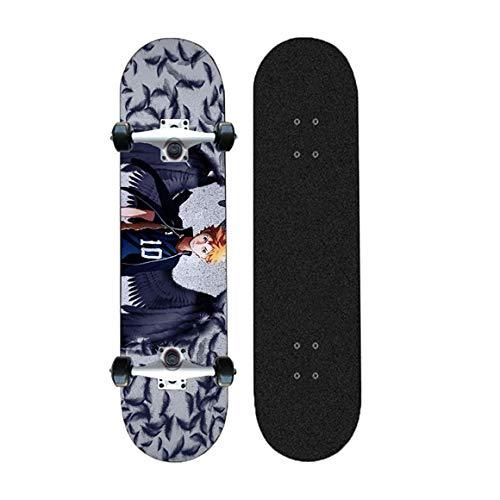 FWTL Anime Skateboard, Haikyuu !!, Skateboard Complete Pro Skateboard-Erwachsene Doppelkick Skateboard 7-Lagenkanadisches Ahorn, Skill Skateboard