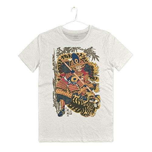 INSIDETSHIRT Maglietta Samurai Arti Marziali Bushi T-Shirt Man Tatuaggio Giapponese Guerriero Japan Old Art  (Warm White, L)